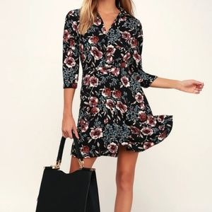 Lulus 'Such A Beauty' Floral Print Button Up Dress